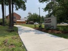 New sidewalks near Leland Library